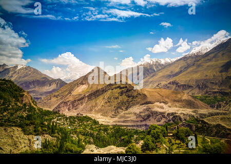 Panorama of Karimabad and Hunza valley in Gilgit-Baltistan, Pakistan - Stock Photo