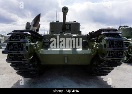 Verkhnyaya Pyshma, Russia - March 01, 2018: British flame-thrower tank Mk IV Churchill Crocodile in the museum of military equipment - Stock Photo