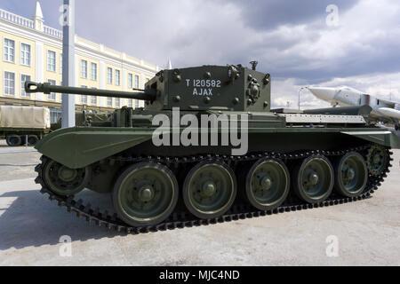 Verkhnyaya Pyshma, Russia - March 01, 2018: British tank cruiser Mk.IV Cromwell (A27M) in the museum of military equipment - Stock Photo