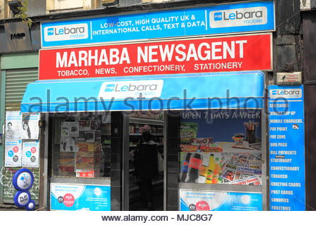 A Marhaba News Agent Shop Front In Manchester City Centre Manchester England May 2018 - Stock Photo