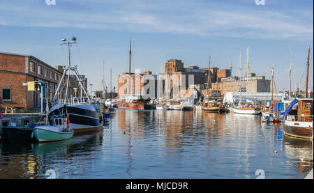 Brickstone architecture in the harbour of wismar, Mecklenburg-Vorpommern,Germany - Stock Photo