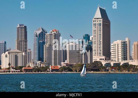 View on San Diego downtown from Coronado Peninsula beach. - Stock Photo