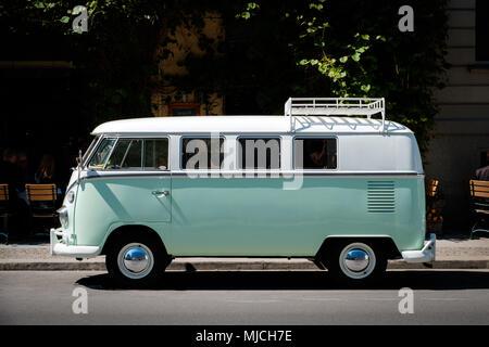 Berlin, Germany - may, 2018: A vintage VW T1 BULLI , oldtimer van from Volkswagen on street  in Berlin, Germany. - Stock Photo