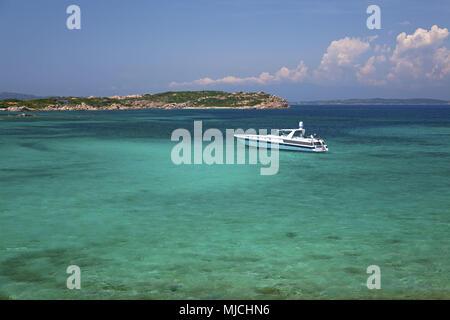 Yacht in the North of La Maddalena, Spiaggi Spalmatore, Maddalena archipelago, Sardinia, Italy, - Stock Photo