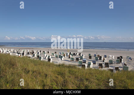 Beach on the island Wangerooge, the East Frisians, Lower Saxony, Germany, Europe, - Stock Photo