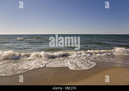 Waves on the Baltic beach, peninsula Fischland-Darss-Zingst, Baltic coast, Mecklenburg-West Pomerania, Germany, - Stock Photo