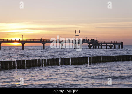 Pier in the Baltic sea spa Zingst, peninsula Fischland-Darss-Zingst, Mecklenburg-West Pomerania, Germany, - Stock Photo
