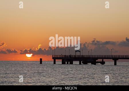 Pier in the Baltic sea spa Ahlbeck, island Usedom, Mecklenburg-West Pomerania, Germany, - Stock Photo