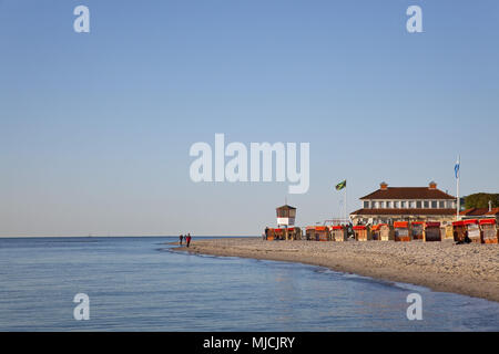 Beach at the Baltic sea spa Laboe, Schleswig - Holstein, North Germany, Germany, - Stock Photo