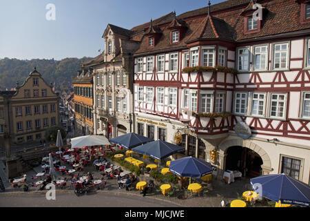 Inn 'Goldener Adler' on the town square, Schwäbisch Hall, Baden-Wurttemberg, Germany, - Stock Photo