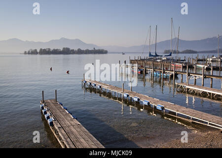 View to the island Fraueninsel in the lake Chiemsee, Chiemgau, Gstadt, Upper Bavaria, Bavaria, South Germany, Germany, - Stock Photo