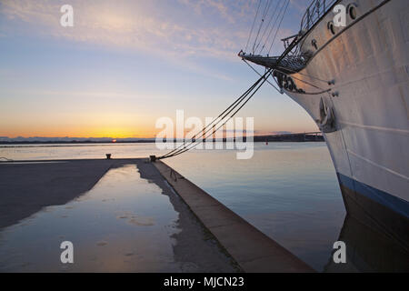 Sailing ship Gorch Fock I in the harbour of the Hanseatic town Stralsund, Mecklenburg-West Pomerania, North Germany, Germany, - Stock Photo