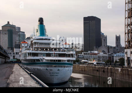 Harbour basin with MS Albatross in Montreal - Stock Photo