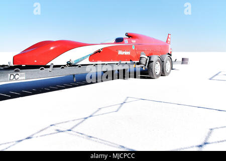 Self-built racing car, Bonneville Speed Week, Great Salt Lake, Utah, USA - Stock Photo