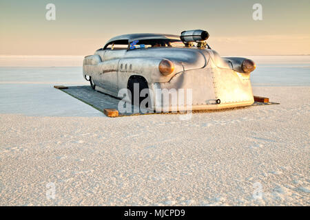 Self-built racing car, Bonneville Speed Week, Great Salt Lake, Utah, the USA - Stock Photo