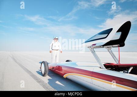 Famous starter Jim Jenson, self-built racing car, Bonneville Speed Week, Great Salt Lake, Utah, - Stock Photo