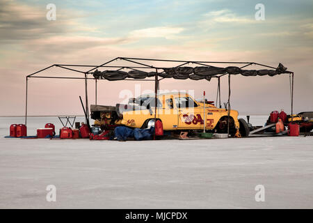 Racing car, Bonneville Speed Week, Great Salt Lake, Utah, USA, - Stock Photo