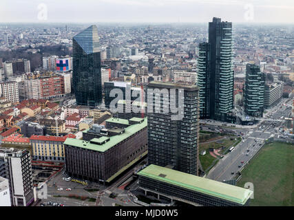 Milan seen from the terrace of a skyscraper.Italy - Stock Photo