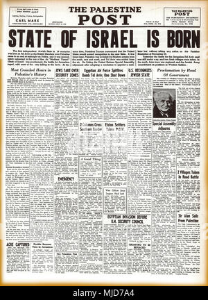JERUSALEM, MAY 18, 1948: Facsimile of the front page of The Palestine Post declaring the birth of the modern State of Israel. - Stock Photo