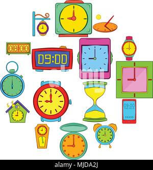 Time and Clock icons set, pop-art style - Stock Photo
