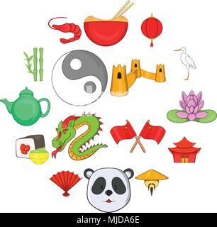 China icons set, cartoon style - Stock Photo