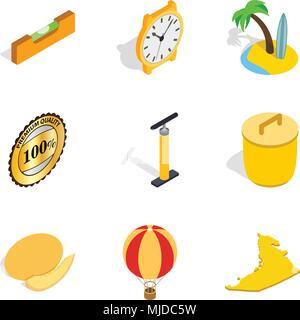 Optimal place icons set, isometric style - Stock Photo