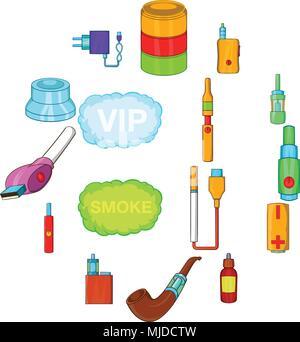 Electronic cigarettes icons set, cartoon style - Stock Photo