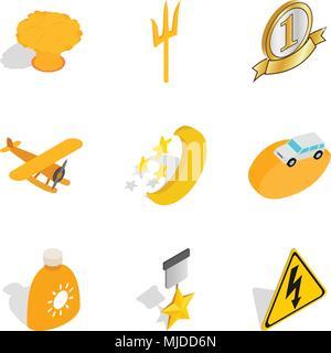 Best place icons set, isometric style - Stock Photo