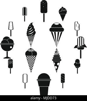 Ice cream icons set - Stock Photo