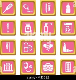 Drug medicine icons set pink square vector - Stock Photo