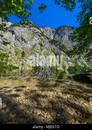 View of Obersee (lake) in Berchtesgaden National Park, Salet am Königssee, Bavaria, Upper Bavaria, Germany, Europe - Stock Photo