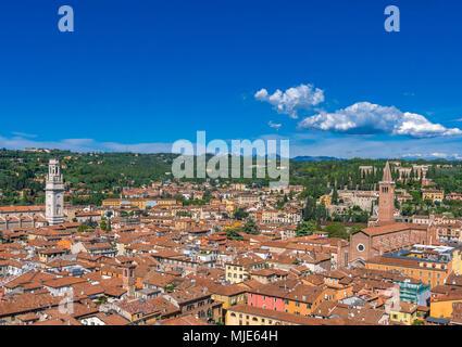 View over the town with Cathedral of Santa Maria Matricolare and Church of Santa Anastasia from Torre dei Lamberti, Verona, Veneto, Italy, Europe - Stock Photo