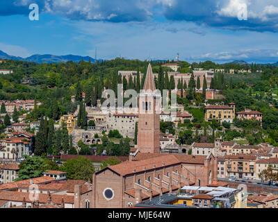View over the town with the Church of Santa Anastasia from Torre dei Lamberti, Verona, Veneto, Italy, Europe - Stock Photo