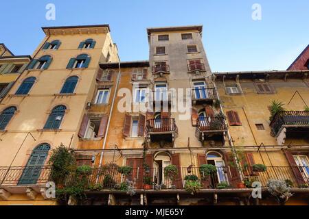 House facade, Piazza delle Erbe, Verona, Veneto, Italy, Europe - Stock Photo