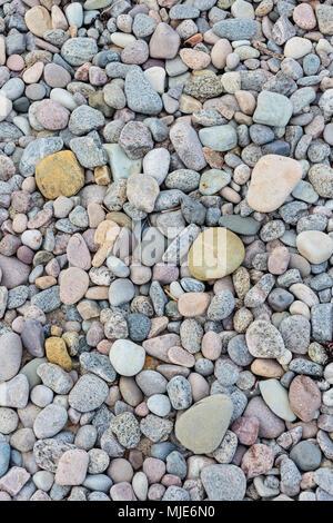 Colorful pebbles on an idyllic beach (Kobbeå) south of Tejn, Europe, Denmark, Bornholm, - Stock Photo