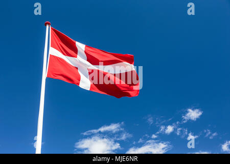 The Danish national flag, the 'Dannebrog' in Bølshavn, Europe, Denmark, Bornholm, Bølsbakke, - Stock Photo