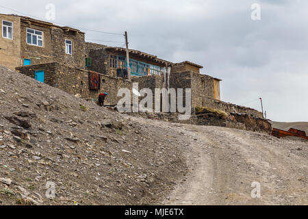 Old houses in the village of Khinalig - Stock Photo