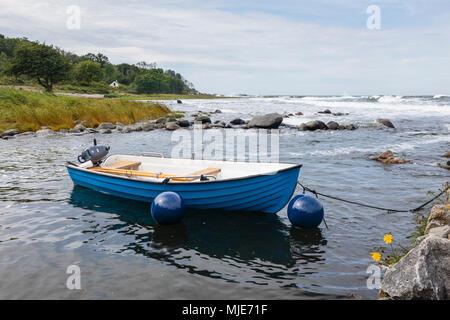 Fishing boat on the coast at Bølsbakke, Europe, Denmark, Bornholm, - Stock Photo