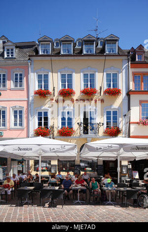 Cafe and house Zum Domstein at Trier main market (Hauptmarkt), Trier, Rhineland-Palatinate, Germany, Europe - Stock Photo