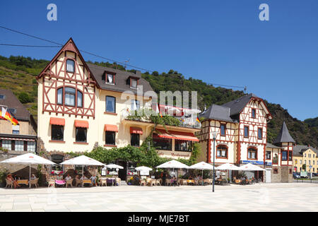 Old half-timbered houses, Rhine promenade, old town, St. Goarshausen, UNESCO World Heritage Upper Middle Rhine Valley, Rhineland-Palatinate, Germany, Europe - Stock Photo
