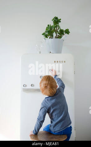 DIY, flower pot on fridge, child fix fridge magnets made of bottle cap - Stock Photo