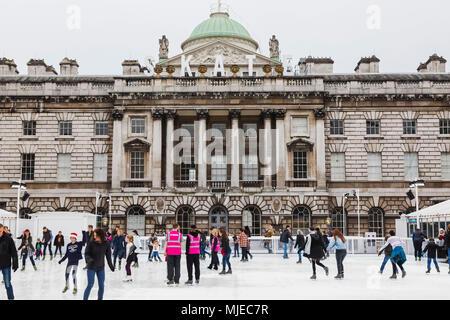 England, London, The Strand, Somerset House, Ice Skating - Stock Photo