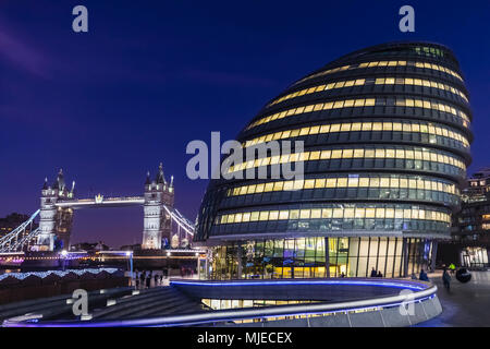 England, London, Southwark, London Bridge City, More London Riverside, City Hall and Tower Bridge - Stock Photo