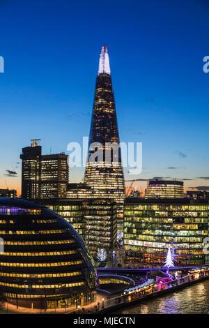 England, London, Southwark, London Bridge City, View from Tower Bridge of London Bridge City Skyline - Stock Photo