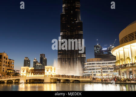 Dubai, Burj Khalifa and fountain show - Stock Photo