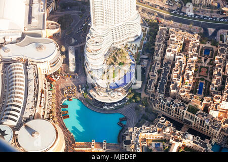 Dubai mall and fountain from above - Stock Photo