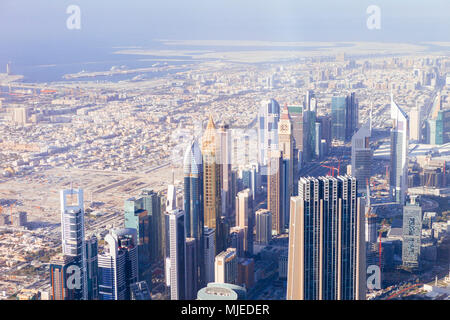 Dubai skyline from above Stock Photo