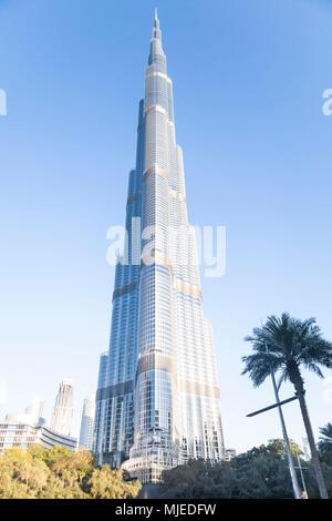 Dubai, Burj Khalifa tower (828 meters) is the world's tallest building. - Stock Photo