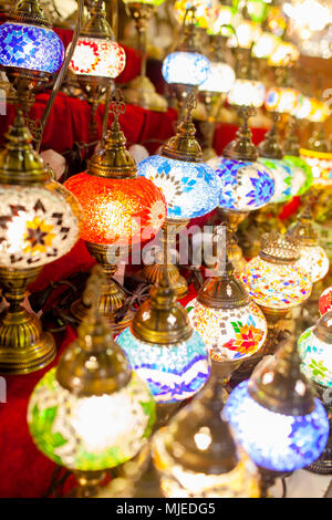 Dubai souk with handcrafted lights - Stock Photo