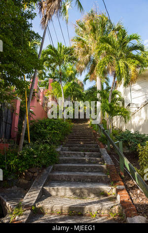 99 steps, little alley in Charlotte Amalie capital of St. Thomas, US Virgin Islands - Stock Photo